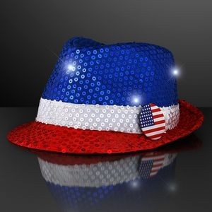 Sequin Red, White, Blue Fedora Hats with Flashing LEDs