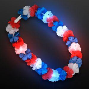 Custom Red/White/Blue Light Up Hawaiian Lei