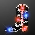 Custom Black Cowboy Boot LED Blinkies Pin