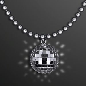 Custom Disco Ball Necklace, Charm on Silver Beads (NON-Light Up)