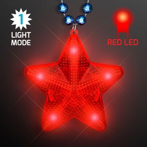 Custom Flashing Red LED Star Pendant on Blue Party Beads