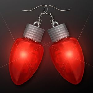 Custom Red LED Flashing Light Bulb Christmas Earrings