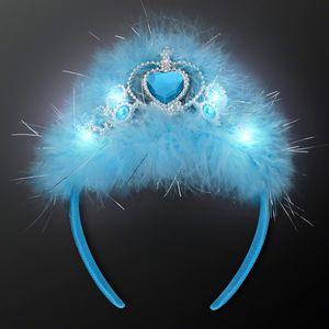 Custom Blue Princess Crown Headband with Flashing LEDs