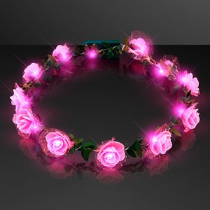 Custom Pink Rosebud LED Flower Headband
