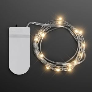 "Warm White Fairy Lights, 20 LEDs, 80"" Long"