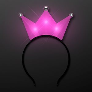 Custom LED Pink Crown Tiara Headbands, Princess Party Favors