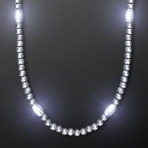 Custom Light Up Silver Mardi Gras Beads