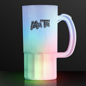 20 Oz. Imprinted Tall Frosted Beer Stein w/ Multi Color LED's - Overseas Imprint