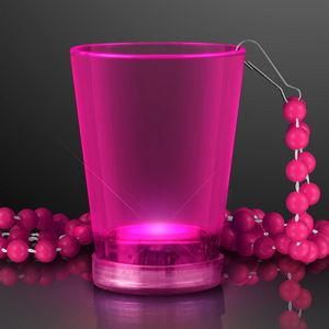 Custom 2 Oz. Light Up Pink Shot Glass w/ Bead Necklace