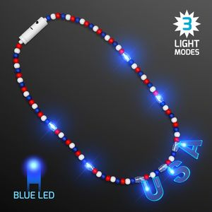 Custom Blue Lights USA Patriotic Bead Necklaces