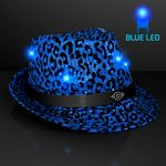 Custom LED Blue Fedora Animal Print Party Hats