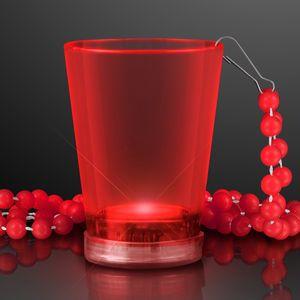 Custom 2 Oz. Light Up Red Shot Glass w/ Bead Necklace