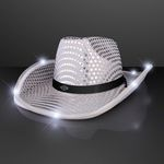 Custom Silver Sequin Cowboy Hat w/White LED Brim