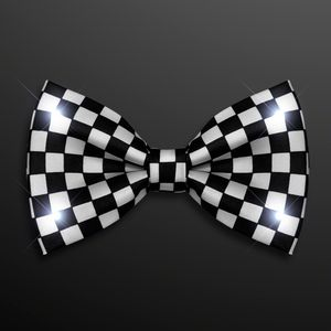 Custom Black & White Light Up Checker Bow Tie