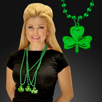 Green Shamrock Medallion w/ Mardi Gras Beads (Non Flashing)