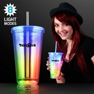 Light Up Multicolor Deluxe Double Wall Tumblers - Domestic Imprint