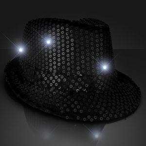 Custom Shiny Black Fedora Hat w/ Flashing Lights