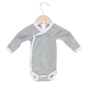 Heather Gray/White The Laughing Giraffe® Baby Newborn Long Sleeve One Piece Side Snap - Mittens