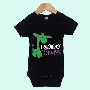Black The Laughing Giraffe® Short Sleeve Poly/Cotton Baby Cap Sleeve Bodysuit w/Scallop Trim