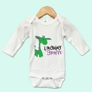 The Laughing Giraffe® Long Sleeve 65%/35% Newborn Baby Bodysuit - White