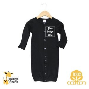 Black The Laughing Giraffe® Long Sleeve Cotton baby Convertible Gown to pajamas w/ Mittens