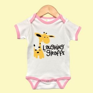 The Laughing Giraffe® Short Sleeve Cotton baby Ringer - Pink