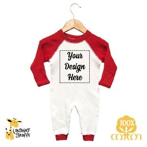The Laughing Giraffe® Raglan Sleep & Play w Fold Over Mittens - White/Red