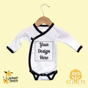 Long Sleeve Newborn Kimono Romper w/Mittens - White/Black