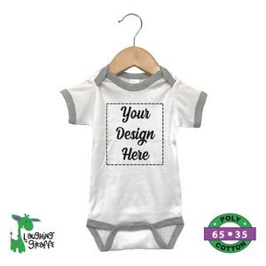 The Laughing Giraffe® Short Sleeve Baby One Piece Ringer - White/Heather Gray