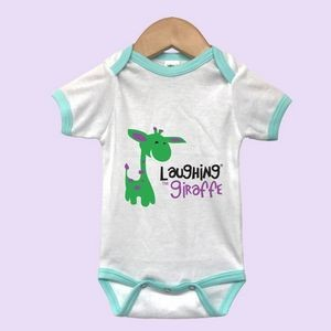 The Laughing Giraffe® Short Sleeve Baby One Piece Ringer - White/Mint