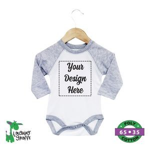 The Laughing Giraffe® Short Sleeve Baby Raglan One Piece - White/Heather Gray