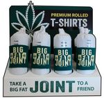 Custom Joint Shaped, Wrapped and Rolled T-Shirts with Display