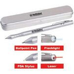 Custom Light Up Pen - LED - Laser Pointer - Stylus - Silver