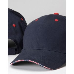 Adams Patriot Brushed Cotton Twill Cap with Stars & Stripes Sandwich