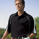 Custom Willow Pointe Men's Poly Cool Mesh Polo Shirt w/ Piping Trim-Closeout