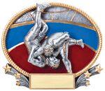 Custom Wrestling, 3D Oval Resin Awards -Large - 8-1/4