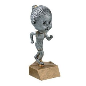 "Resin Female Track Runner Bobble Head (6"")"