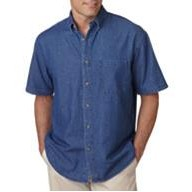 UltraClub Embroidered Men's Denim Short Sleeve with Pocket