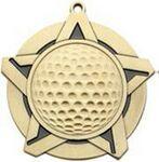 Custom Super Star Medal - Golf - 2-1/4