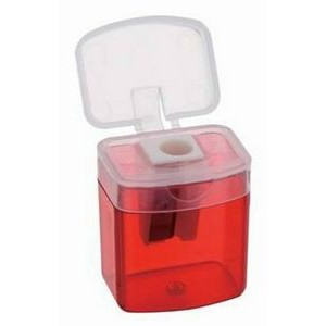 Pencil Sharpener-Translucent Red w/Clear Top.