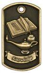 Custom 3-D Metal Dog Tag - Knowledge - Antique Bronze - 2