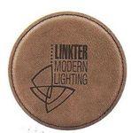 Custom Round Coaster - Dark Brown - Leatherette