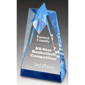 "Sculpted Acrylic Star Blue Reflective Column Award - 3 1/2""x6""x 2"" thick"