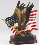 Custom Eagle In Flight/Flag Resin Sculpture -10-1/2