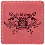 Custom Square Coaster - Pink - Leatherette