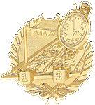 Custom Swimming - Wreath Gold Plaque Mount - 3-1/2