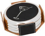 Custom Round Coaster Set - Black - Leatherette