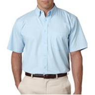 UltraClub Embroidered Men's Short Sleeve - Whisper Twill w/ Pocket