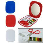 Custom Compact Sewing Kit - w/Mirror - White