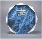 Custom Octagon Acrylic Marbleized Blue Award - 5